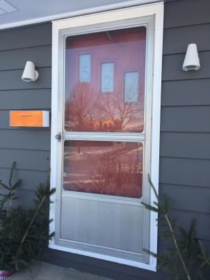front door with numbers