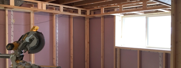basement bedroom soffit header