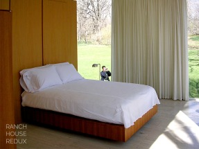 Farnsworth House by Mies van der Rohe - Custom plywood bed surrounded by plate glass windows (comes with complimentary architecture tourist invading your privacy)
