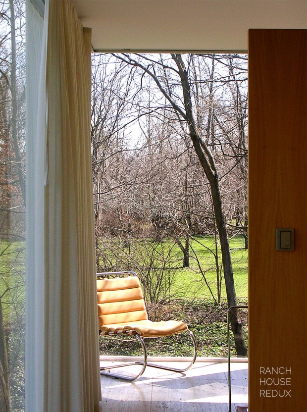 MR Lounge Chair by Mies van der Rohe sitting in window corner of Farnsworth House