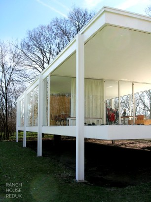 Farnsworth House by Mies van der Rohe - floating above landscape on steel columns