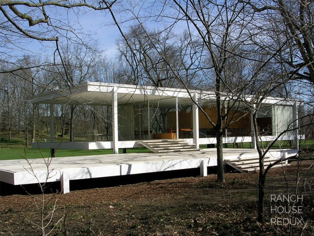 Farnsworth House by Mies van der Rohe - floats above the landscape and reached by wide steel and travertine patio