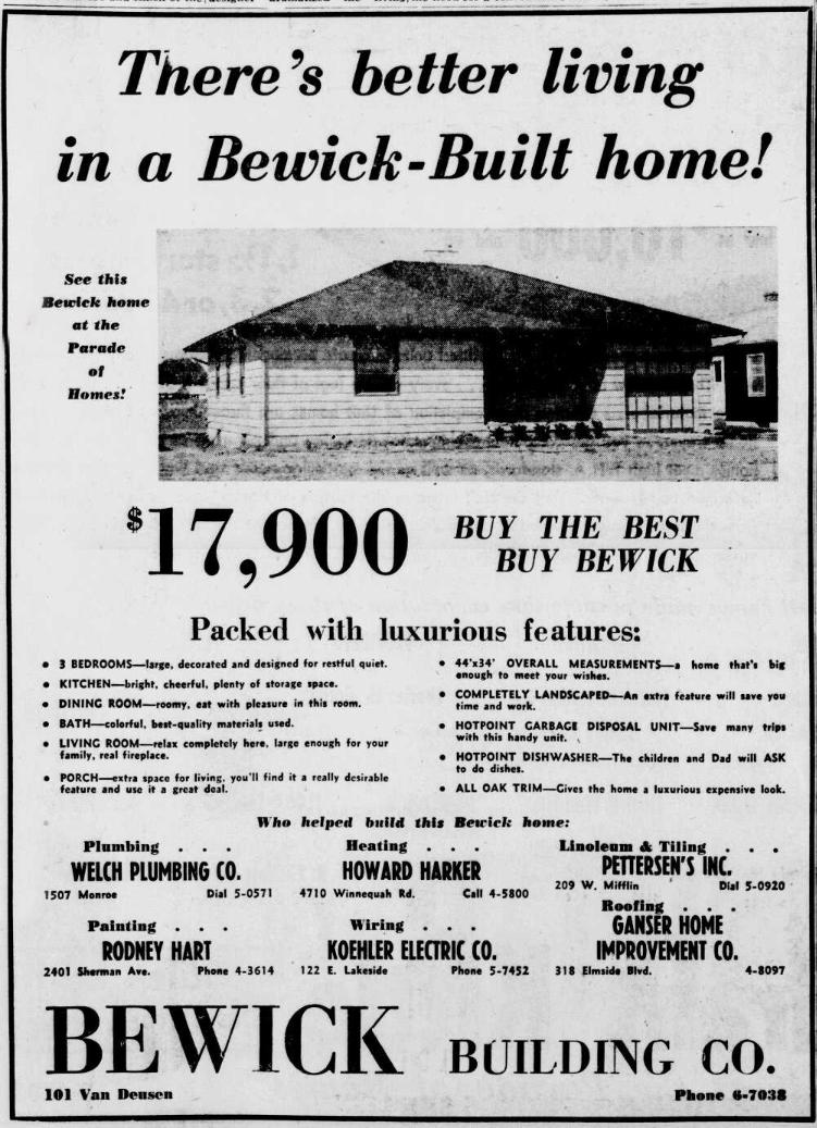 parade of homes ad 1952